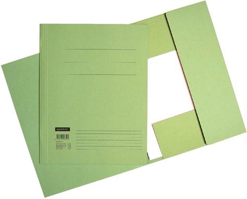 Dossiermap 3-kleps Quantore A4 320 grams karton groen. Afname per 10 stuks.
