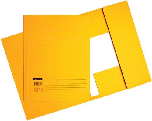 Dossiermap 3-kleps Quantore A4 320 grams karton geel. Afname per 10 stuks.
