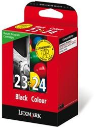 Inktcartridge Lexmark 18C1419E 23+24 zwart + kleur.