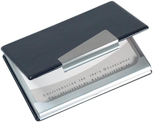 Visitekaartenhouder Sigel VZ131 aluminium/leer 58x90mm maximaal 20 visitekaarten (541482).
