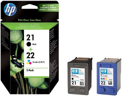 Inktcartridge HP SD367AE 21+22 zwart + kleur.