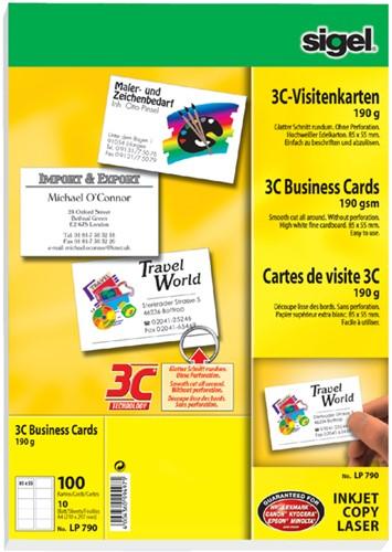 Visitekaartjes Sigel 190 grams 85x55mm gladde zijden wit 100 kaarten.