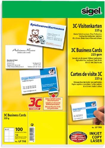 Visitekaartjes Sigel 225 grams 85x55mm gladde zijden wit 100 kaarten.