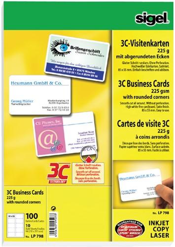 Visitekaartjes Sigel 225 grams 85x55mm afgeronde hoeken wit 100 kaarten.