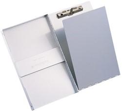 Klembordkoffer A4 staand met deksel en zijopening aluminum.