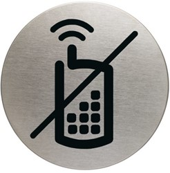 Infobord pictogram Durable 4917 GSM verboden rond 83mm.