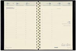 Agenda 2017/2018 Brepols Bretime 7 dagen per 2 pagina's 14,8x21cm met spiraal 16 maanden vanaf augustus 2017 omslag zwart creme papier.