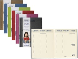 Agenda 2018 Brepols Optivision Large 7 dagen per 2 pagina's 17x22cm omslag: Lucca assorti trendy kleuren met patchwork papier: creme.