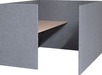 Akoestisch paneel concentratie unit met 1 bureaublad, hoogte 120cm, tbv bureaublad 120 x 80cm x 32mm dikte paneel stofgroep A