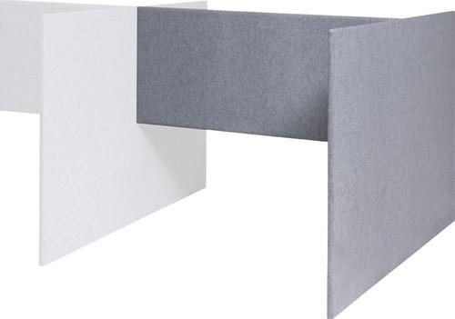 Akoestisch paneel H opstelling aanbouw met laag koppelpaneel, hoogte 120cm, koppelpaneel 60cm, tbv bureaublad 120 x 80cm x 32mm dikte paneel stofgroep A