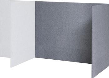 Akoestisch paneel U opstelling aanbouw, hoogte 120cm, tbv bureaublad 120 x 80cm x 32mm dikte paneel stofgroep A