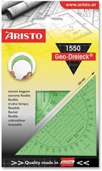 Geodriehoek Aristo 1550 16cm flexibel transparant groen.