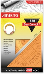 Geodriehoek Aristo 1550 16cm flexibel transparant oranje.