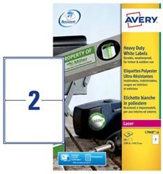 Etiket Avery L7068-20 A5 polyester wit 20 vel 40 etiketten.