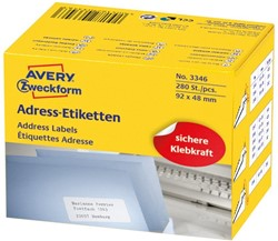 Etiket Avery Zweckform 3346 92x48mm 280 stuks.