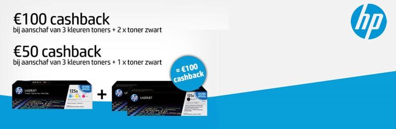 Tot € 100,- euro cashback op HP toners