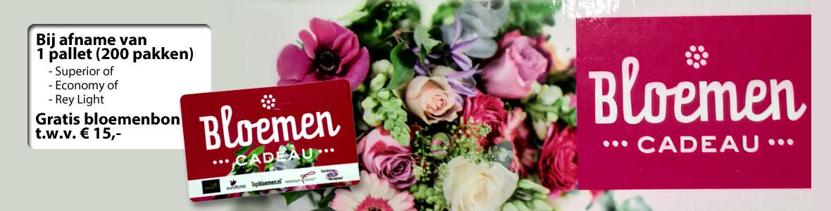 Gratis bloemenbon t.w.v. 15,- bij afname van 1 pallet papier.