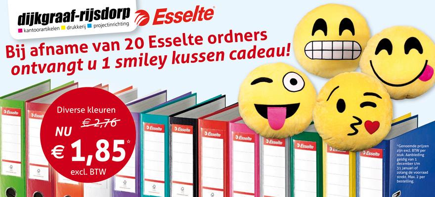 Smiley kussen cadeau bij afname van 20 Esselte ordners