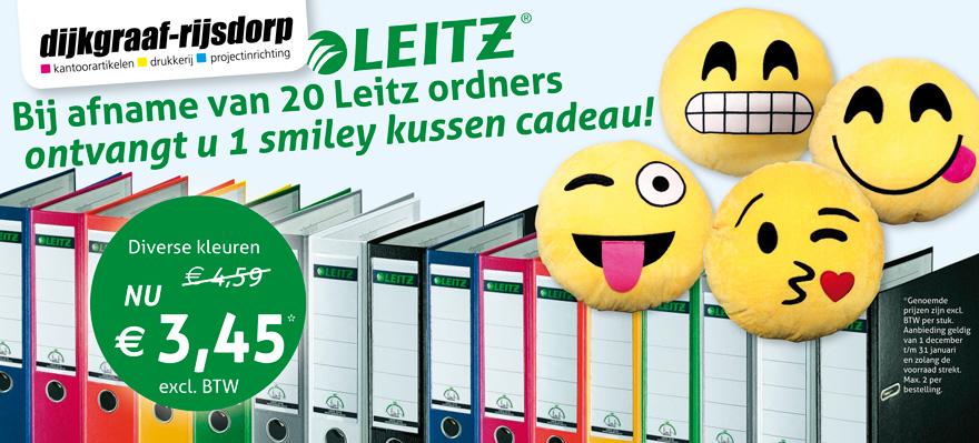 Smiley kussen cadeau bij afname van 20 Leitz ordners