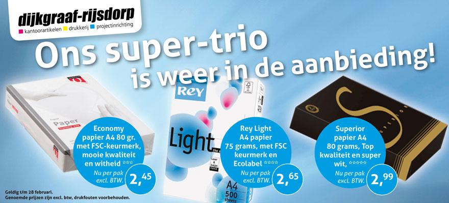 Supertrio papier aanbieding op Dijkgraaf.nl