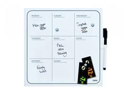 Whitebord Desq 35x35cm weekplanner zonder rand met weekagenda opdruk inclusief stift.
