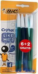 Balpen BIC Cristal Bicolorcap blauw 6+2 EU.
