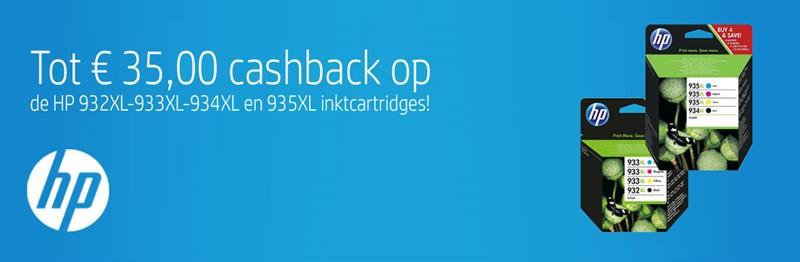 Tot €35,- cashback bij HP inktcartridges