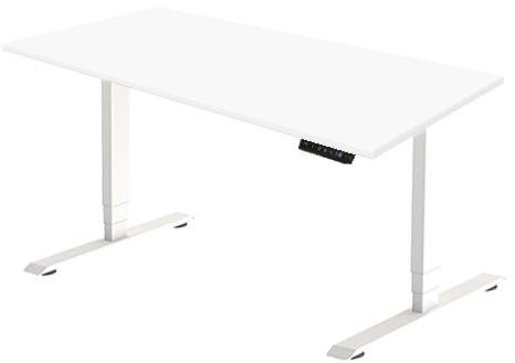 Zit sta bureau Huislijn elektrisch 160x80 cm, blad wit en frame wit met display bediening.