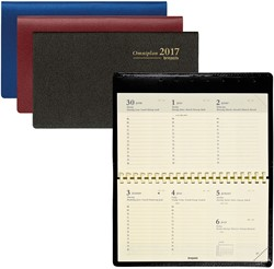 Zakagenda 2018 Brepols Omniplan 7 dagen per 2 pagina's 9x16cm liggend model met spiraal omslag: assorti kleuren papier: creme (900048).