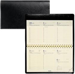 Zakagenda 2019 Brepols Omniplan 7 dagen per 2 pagina's 9x16cm liggend model met spiraal luxe omslag zwart creme papier (nr. 738572012).