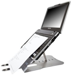 Laptopstandaard Ergomaster high top zilver.