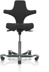 Bureaustoel HAG Capisco 8106 gestoffeerd zwart, voetkruis aluminium zilver.