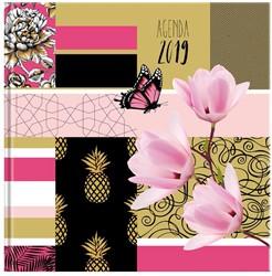 Agenda 2019 Ryam Carre 6-talig 7 dagen per 2 pagina's 17x17cm omslag Pattern Patchwork dessin 01 (rose) wit papier.