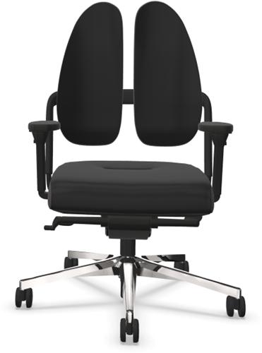 Bureaustoel Nowy Style (voorheen Rohde & Grahl) Xenium classic duoback stoffering xtreme zwart, zijkanten donker grijs, rugbeugel zwart, armleggers 4d,  voetkruis alu gepolijst en wielen zacht.