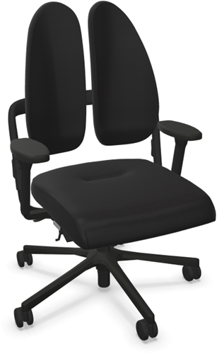 Bureaustoel Nowy Style (voorheen Rohde & Grahl) Xenium basic duoback stoffering xtreme zwart, armleggers 4d, voetkruis kunststof zwart en wielen zacht.