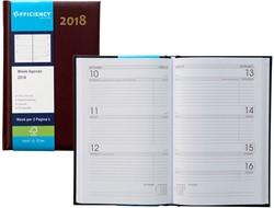 Agenda 2018 Ryam Efficiency 7 dagen per 2 pagina's 13,5x21cm omslag bordeaux wit papier.
