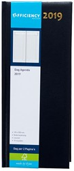 Agenda 2019 Ryam Efficiency lang 1 dag per 2 pagina's 14x34cm omslag blauw wit papier.