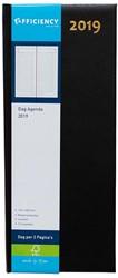 Agenda 2019 Ryam Efficiency lang 1 dag per 2 pagina's 14x34cm omslag zwart wit papier.