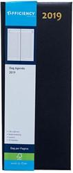 Agenda 2019 Ryam Efficiency lang 1 dag per pagina 14x34cm omslag blauw wit papier.