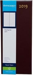 Agenda 2019 Ryam Efficiency lang 1 dag per pagina 14x34cm omslag bordeaux wit papier.