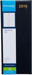 Agenda 2019 Ryam Efficiency lang 7 dagen per 2 pagina's 14x34cm omslag blauw wit papier.