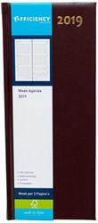 Agenda 2019 Ryam Efficiency lang 7 dagen per 2 pagina's 14x34cm omslag bordeaux wit papier.