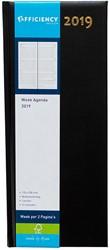 Agenda 2019 Ryam Efficiency lang 7 dagen per 2 pagina's 14x34cm omslag zwart wit papier.