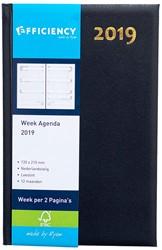 Agenda 2019 Ryam Efficiency 7 dagen per 2 pagina's 13,5x21cm omslag blauw wit papier.