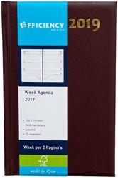 Agenda 2019 Ryam Efficiency 7 dagen per 2 pagina's 13,5x21cm omslag bordeaux wit papier.
