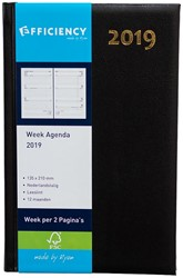 Agenda 2019 Ryam Efficiency 7 dagen per 2 pagina's 13,5x21cm omslag zwart wit papier.