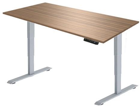 Zit sta bureau Huislijn elektrisch 160x80 cm, blad eiken donker en frame aluminium met display bediening.