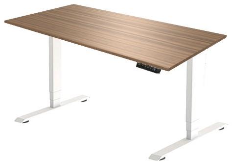 Zit sta bureau Huislijn elektrisch 160x80 cm, blad eiken donker en frame wit met display bediening.