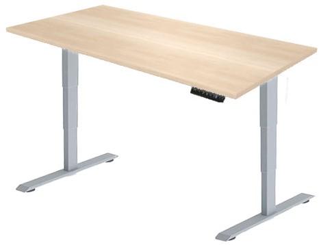 Zit sta bureau Huislijn elektrisch 180x80 cm, blad eiken licht en frame aluminium met display bediening.