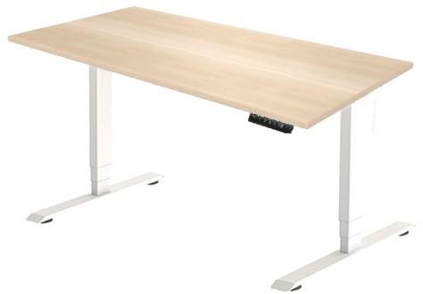 Zit sta bureau Huislijn elektrisch 180x80 cm, blad eiken licht en frame wit met display bediening.